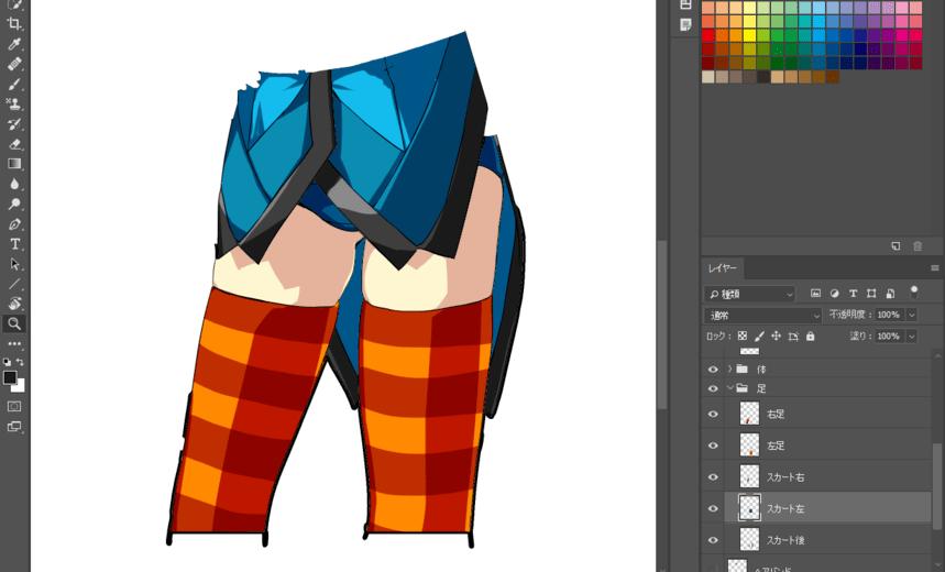 スカートに描き足し